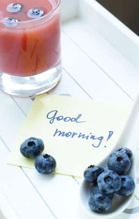 Healthy breakfast: juice and bilberries