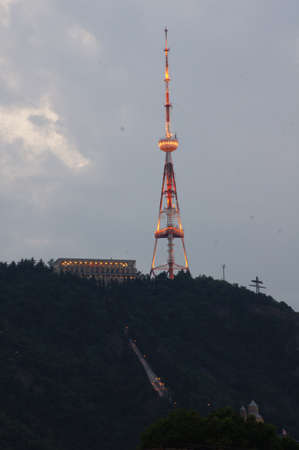 Tbilisis tv tower in the evening time, Georgia