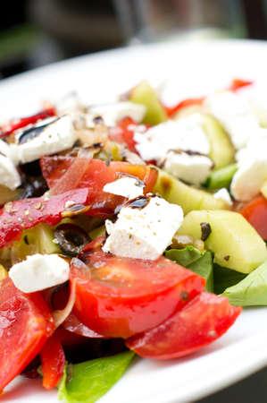 closeup of Cesar salad on the plate Stock Photo