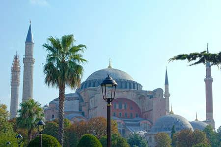 hagia sophia: Exterior of the Hagia Sophia in Sultanahmet, Istanbul, on a sunny day