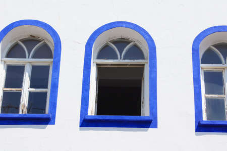 Traditional aegean architecture; narrow streets of Bodrum Old town, Turkey photo