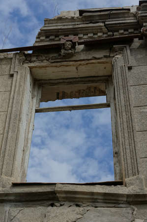 rehabilitated people: Window in abondoned house of 18-19 centuries in Tbilisi, Republic of Georgia Stock Photo