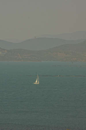 aegean sea: yacht and blue water of Aegean sea