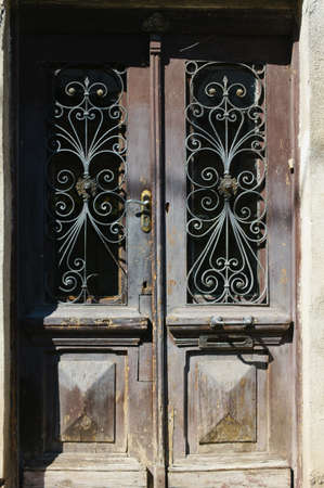 rehabilitated: Details of Art-Nouveau forged iron in the building decor in Tbilisi Old town