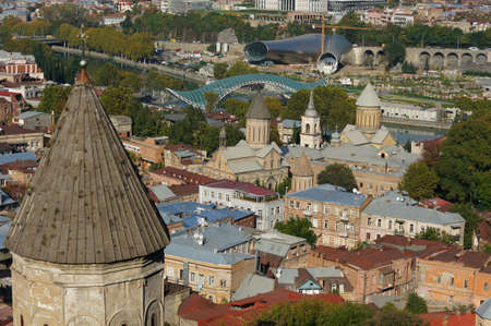 crist: Churches and domes of Tbilisi, view to historical part of the capital of Republic of Georgia