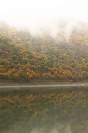 Autumnal landscape: hill slope covered with trees and its reflexion in the lake