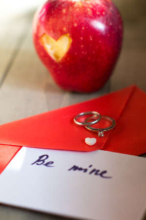 St. Valentine day - red envelope and heart photo