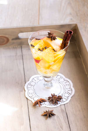 icecubes: Fresh fruits juice with spices, anise and cinnamon