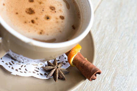 Cup of coffee with spices Stock Photo