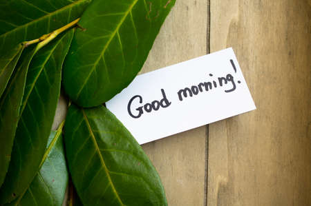 good morning: Fresh tangerines leaves and Good morning note