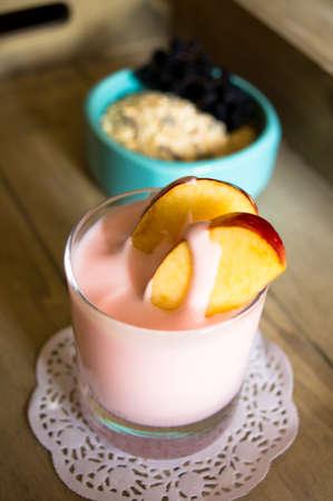 Healthy breakfast, yoghurt, apple and muesli