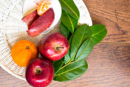 Healthy food, fresh fruits and yoghurt with Good morning note Stock Photo