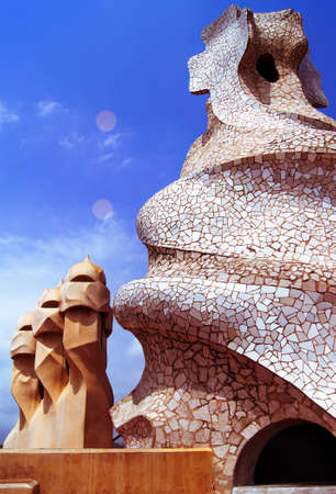 Roof of Casa Mila in Barcelona, Spain