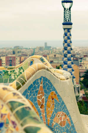 Ceramic bench in the most famous park of Barcelona - Park Guell