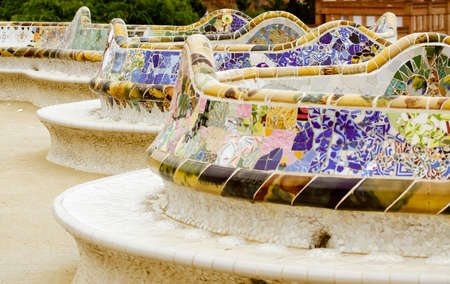 Ceramic bench in the most famous park of Barcelona - Park Guell photo