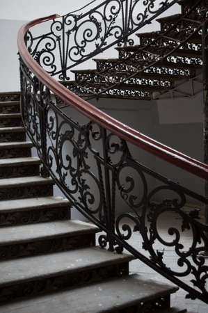 Art-Nouveau stairs in the house 19-th century in Tbilisi Old town, restored area photo