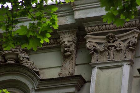 rehabilitated people: Details of Art-Nouveau decor of facade in Old Tbilisi, Georgia Stock Photo