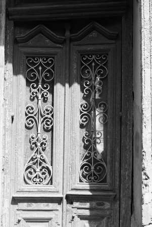 Art-Nouveau facade in Tbilisi Old town, restored area in bw
