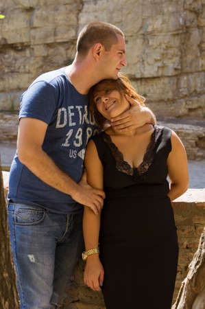 Beautiful smiling couple in love outdoor portrait photo