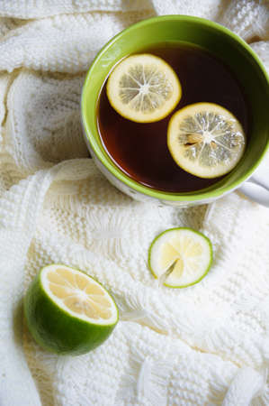 convalesce: Cold time, tea with lemon and warm scarf