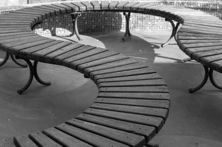 blackwhite: Park bench outdoor in black&white