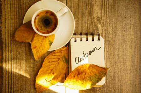 good color: Autumn time, cup of coffee, yellow autumnal leaves and notes
