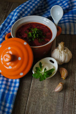Soup with red beets. Ukrainian traditional dish Borsch photo