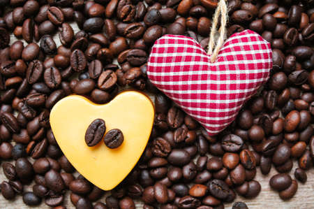 Heart shaped Mocca cake with cup of coffee photo
