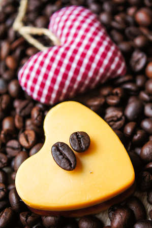 mocca: Heart shaped Mocca cake with cup of coffee, coffee beans and Valentine deocrations