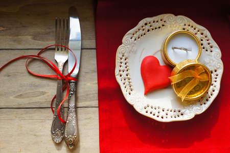Table set for celebration St. Valentines Day photo