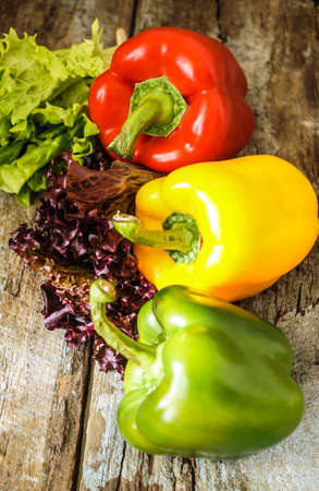 Fresh vegetables, different colors of bell pepper and fresh leaves of lettuce