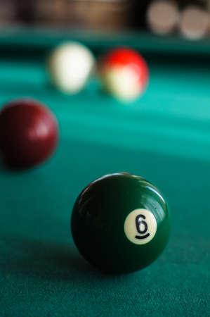 billiards halls: Billiard balls on a pool table. selective focus