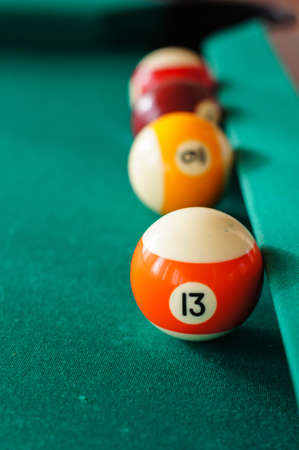 snooker halls: Billiard balls on a pool table. selective focus