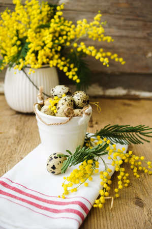 Easter time, Hand decorated Easter Eggs and speckled birds eggs in straw with a branch of colorful yellow clusters of mimosa flowers in a natural country Easter background Stock Photo