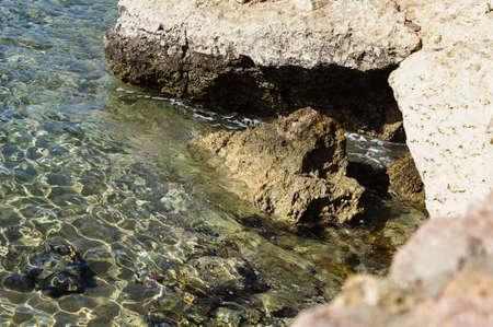 el sheikh: Red Sea coast with reef rocks in Egypt, Sharm el sheikh Stock Photo