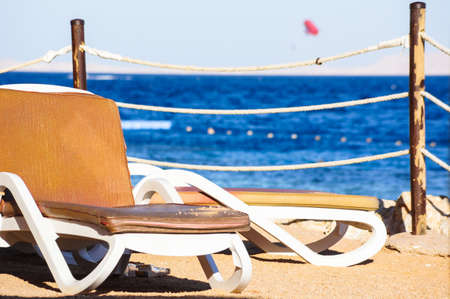 sunbeds: background of beach and sunbeds on the tropic beach