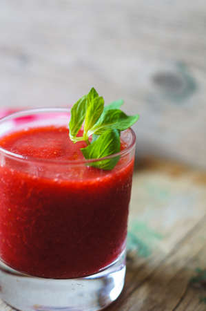 strawberry smoothie: Fresh strawberry smoothie on the wooden rustic table Stock Photo