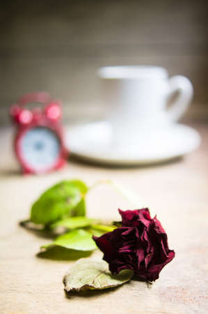 Coffee and rose photo