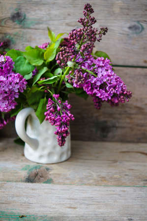 lowers: Spring time, lowers o lilac in a pot in the rustic style interior