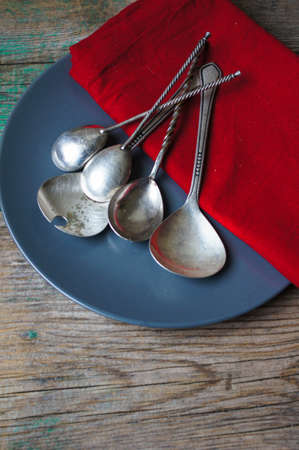 silverware: Vintage silverware on the old wooden table