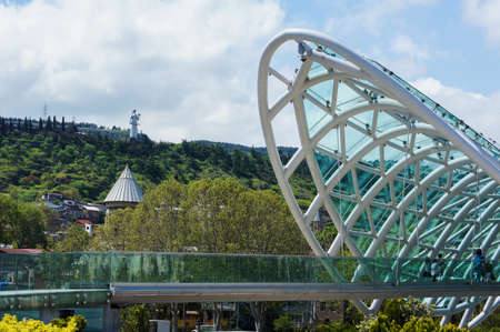 pedestrian bridges: Peace bridge in Old Tbilisi, connecting two areas of olt town - Avlabar and Kala