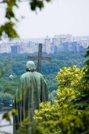 myst: St.Vladimir monument. Vladimir Hill. Kiev. Ukraine. (The Dnieper River and Kiev City in background).