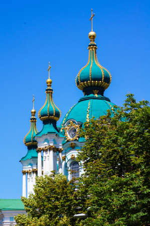 bartolomeo rastrelli: One of the most beautiful church in Kiev, Ukraine - St. Andrew church on Andrews descent Stock Photo