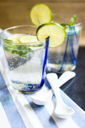 lemon water: Fresh cold water with lime and mint