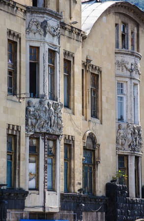 stucco facade: Streets of old Tbilisi, restored part of the downtown. Stock Photo
