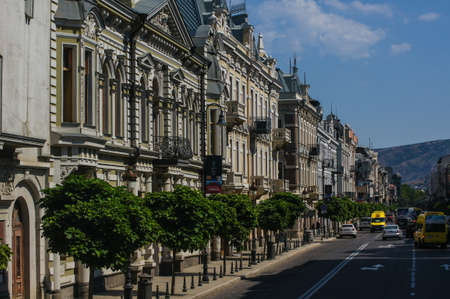 rehabilitated people: Streets of old Tbilisi, restored part of the downtown. Stock Photo