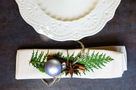 traditional christmas dinner: Vintage or rustic christmas table setting. Selective focus Stock Photo
