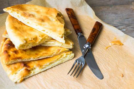 georgian: Traditiona georgian bread with cheese - imeruli khachapuri