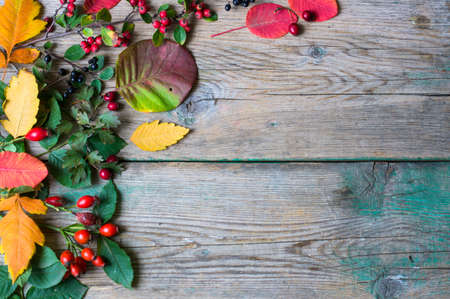 holiday meal: presents with autumn leaves decoration on rustic wooden background in Autumn holidays
