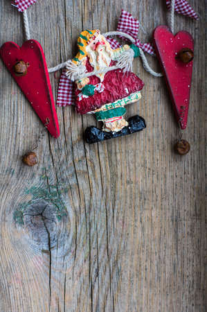 cristmas card: Christmas vintage decoration on the old rustic background Stock Photo